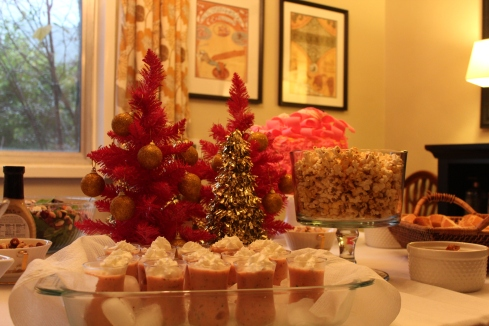 Pink champagne cake from The Madonna Inn, smoothie shooters with whip, and spiced popcorn.