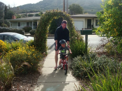 Seabass on his new pedal bike!